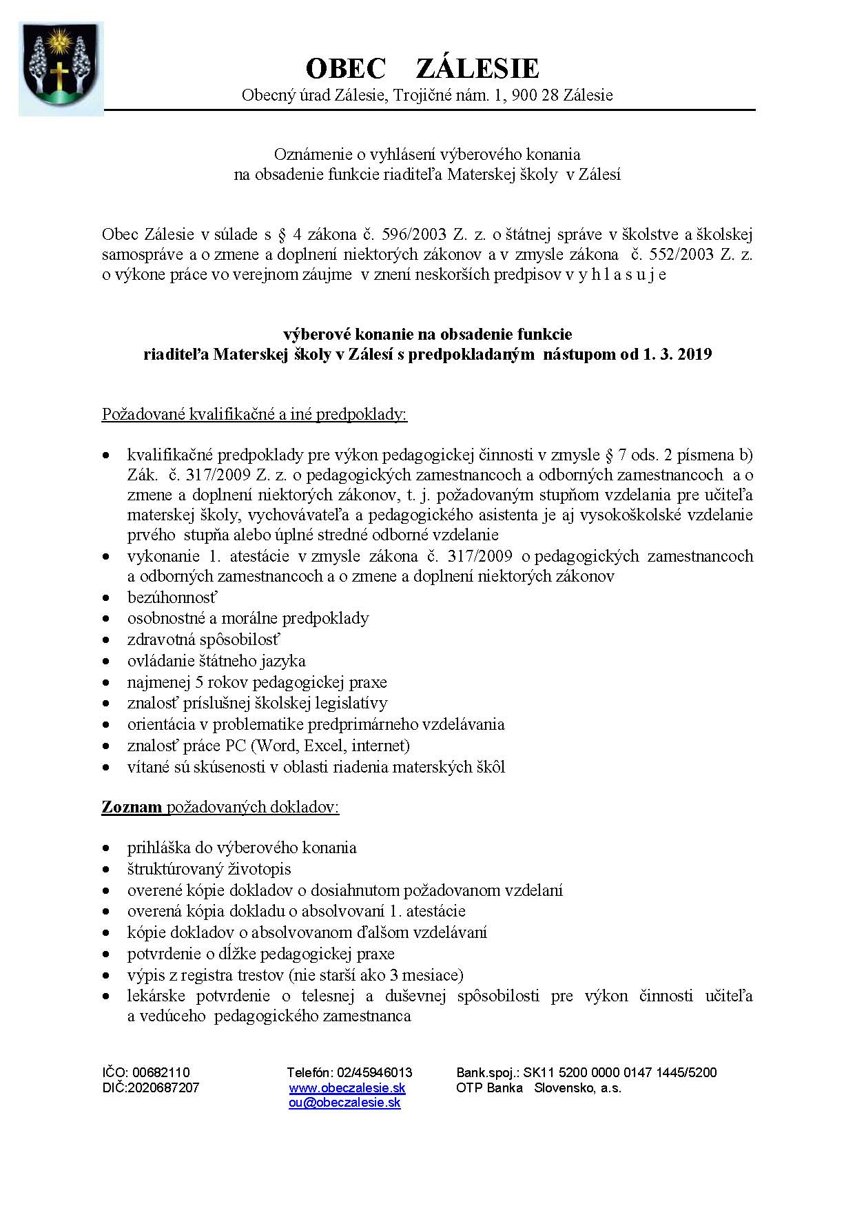Výberové konanie na obsadenie funkcie riaditeľa Materskej školy v Zálesí 81a4ffce993