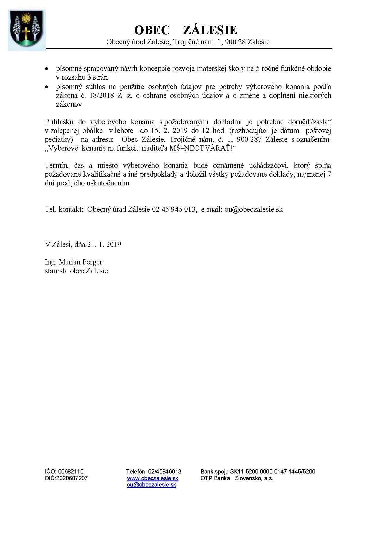 Výberové konanie na obsadenie funkcie riaditeľa Materskej školy v ... fe159f88ea7